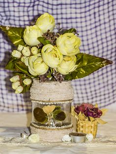 ~ click pe site pentru a cumpăra ~ ❁ ~ I have to say that this was one of my first sold mason jars since I've started my little bazaar in the real life. Well, this is a simple design that everyone could do using twine, rope, lace, pressed flowers, and of course, glue. It's so gentle, delicate, tender, and feminine, like the soul of that woman who desperately wanted to sell it (she gave me the idea to start a small business). Flower Vases, Flowers, Handmade Home, Dollar Stores, Twine, Simple Designs, Real Life, Create Your Own, Mason Jars