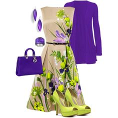 Garden Party-A fashion look from March 2013 featuring floral print dress, long cardigan and platform shoes. Browse and shop related looks.