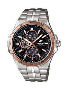 Casio Men's EF340SB-1A5 Edifice Stainless Steel Solar Power Chronograph Sport Watch Casio. $145.00. Stainless steel bracelet with foldover push button safety clasp. Gold-tone luminous hour hands; Second hand; Day and date and 24 hour sub-dials. Water-resistant to 330 feet (100 M). Self charging solar power watch with a black dial. Arabic numerals printed on bezel in increments of five