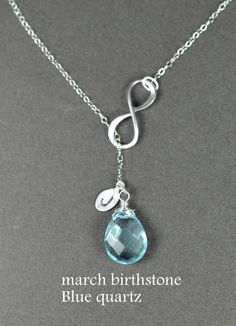 Bridesmaid gifts, Infinity necklace. personalized.custom birthstone.initial.March aquamarine.Y necklace.Lariat necklace.Infinity jewelry. $37.99, via Etsy.