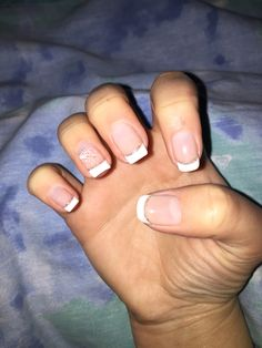 Simple Gel French Manicure with Glitter and Design