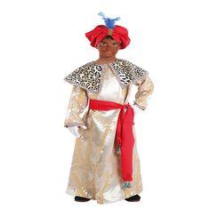 DisfracesMimo, disfraz de rey baltasar niño varias tallas. Es perfecto para celebraciones navideñas, tales como belenes vivientes,desfiles o las tradicionales representaciones escolares.Este disfraz es ideal para tus fiestas temáticas de disfraces reyes magos para niños.