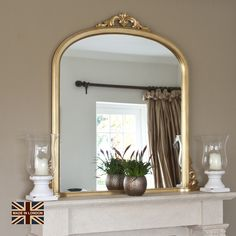 Victoria Antiqued Gold Overmantle Add some classic grandeur to your fireplace – and living room in g Large Gold Mirror, Antique Gold Mirror, Victorian Mirror, Victorian Bedroom, Victorian Fireplace, Victorian Interiors, Modern Victorian, Victorian House, Mirror Above Fireplace