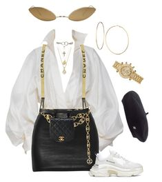A fashion look from February 2018 featuring white sleeve shirt, balenciaga trainers and hip fanny pack. Browse and shop related looks. Curvy Outfits, Mode Outfits, Trendy Outfits, Fashion Outfits, Fashion Trends, Fashion Ideas, Big Girl Fashion, Look Fashion, Womens Fashion