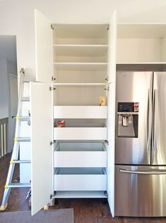 Find out the pros & cons of a DIY Ikea kitchen, as well as step-by-step photos, tips, and ideas for your own kitchen remodel. Ikea Kitchen Drawers, Ikea Kitchen Pantry, Ikea Kitchen Organization, White Ikea Kitchen, Ikea Storage Cabinets, Ikea Kitchen Remodel, Kitchen Pantry Cabinets, Kitchen Island With Drawers, Ikea Sektion Cabinets