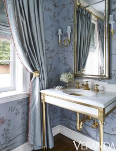 Classic bathroom design with traditional decor including blue wallpaper, formal … - Best Decoration Bad Inspiration, Bathroom Inspiration, Bathroom Ideas, Bathroom Designs, Aqua Bathroom, Master Bathroom, Master Baths, Bathroom Wallpaper, Bathroom Sinks