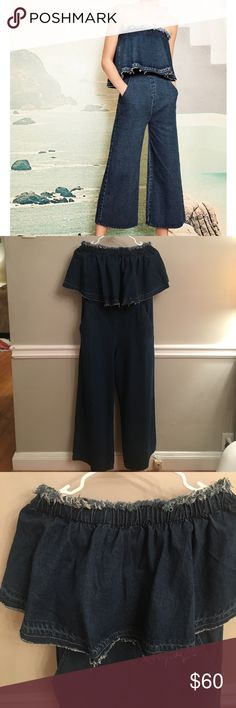 Strapless denim jumper Never worn. Fringy denim romper. Cropped pant. Pockets. Ruffle front. Strapless. Super cute. Bought from Anthropologie early fall Anthropologie Other
