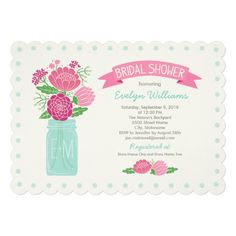 Bridal Shower Invitations | Mason Jar Bouquet in Pink, Green, and Vintage Blue Color Scheme