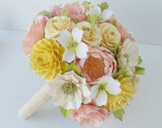 Paper Bouquet - Paper Flowers - Wedding Bouquet - Bride or Bridemaid - Southern Delight - Customize Your Colors - Made To Order Prom Flowers, Paper Flowers Wedding, Paper Flowers Diy, Wedding Flower Arrangements, Wedding Paper, Handmade Flowers, Table Arrangements, Origami Bouquet, Paper Bouquet