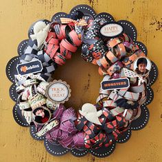 Scrapbook Halloween Wreath