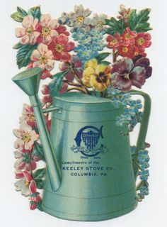trade Card Watering Can and Flowers