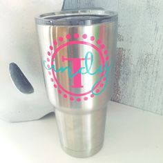 Personalized Name & Initial Dot Tumbler Decal