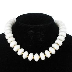 White Lucite Beaded Necklace Vintage 1950s by KensieKitsch on Etsy