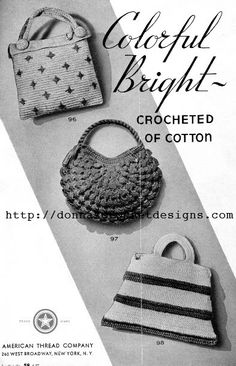 The Vintage Pattern Files: 1940's Crochet - Purse & Hat Patterns