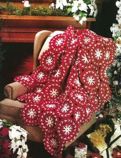 Crochet Crocheting Pattern for a Christmas Candy Afghan Blanket Throw by sonialolavie