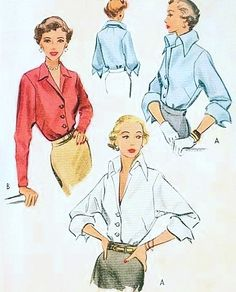 1940s Stunning Blouse Pattern McCall 7872 Pure Class Ultimate Wing Collar Blouse Day or Evening Bust 32 Vintage Sewing Pattern FACTORY FOLDED