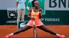 2015 French Open: Serena celebrates after winning a point vs Timea Bacsinszky in the Semifinals.