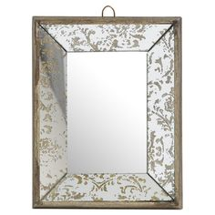 An artful touch for any room, this eye-catching wall mirror showcases a beveled frame and distressed damask-inspired motif.  Product...