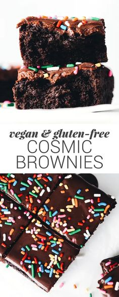 Vegan Cosmic Brownies Feasting On Fruit Healthy Vegan Dessert, Vegan Dessert Recipes, Vegan Treats, Dairy Free Recipes, Gourmet Recipes, Whole Food Recipes, Vegan Food, Healthy Meals, Patisserie Sans Gluten