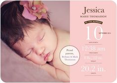 Newborn Numbers: Soft Pink - Girl Photo Birth Announcements - Southern Living Magazine - Soft Shimmer Pink #baby