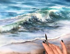 Watercolor Ocean, Watercolor Landscape Paintings, Ocean Beach, Waves, Outdoor, Outdoors, Watercolor Landscape, Ocean Waves, Outdoor Games