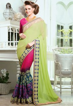Precise Splendor Can Come Out As A Results Of The Dressing #Style And Design With This Honeydew & Pink Faux Georgette #Saree. The Appealing Lace,Resham,Stones Work A Significant Feature Of This Attire.