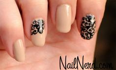Swirly black filigree on nude manicure by Nail Nerd