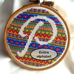 Fair Isle Monogram Cross Stitch Pattern - Entire Alphabet (PDF only) by AmbrosiaStitchesShop on Etsy