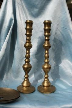 Mid Century Etched 16 inches Oversized Large Scale Brass Candle Holders. SALE. $45.00, via Etsy.