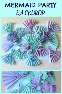 Mermaid Party Backdrop,- How to make this beautiful fan backdrop for  a mermaid, under the sea or beach party. Perfect for dessert tables or photos. - Val Event Gal