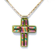 Cross Pendant LARGE Dichroic Pendant Fused Glass by IntoTheLight, $27.00