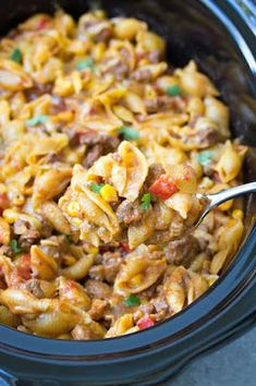An Easy Slow Cooker Taco Pasta recipe that you can prep ahead. With just 10 minutes prep, this comforting crock pot pasta dish is so fast and easy to . Slow Cooking, Easy Cooking, Healthy Cooking, Cooking Recipes, Cooking Turkey, Cooking Beets, Cooking Rice, Healthy Dishes, Healthy Meals