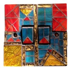 Light switch in red, gold and blue - mosaic. Size 9 x 9 x 1.5 cm. Hand crafted in Murano and Tiffany stained glass. Size 9 x 9 x 1.5 cm. Please feel free to send me a message on Pinterest for commissions.