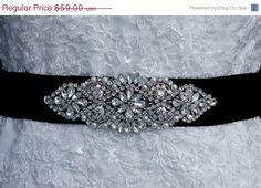 Sale Beaded Sash  Black Beaded Belt   Wedding by EleganceByKate, $56.00