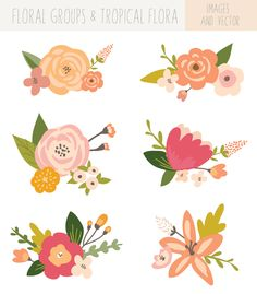 Flower Bunches Clip Art - Tropical by FIELDandFOUNTAIN on Creative Market