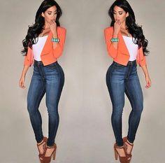 Look com jeans cintura alta