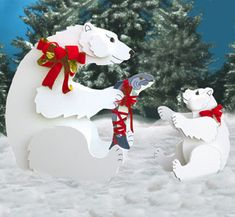 A Time For Sharing Woodcraft Pattern: These fanciful Polar Bears will remind passers-by that Christmas is a time for sharing. This fun display is easy to make with the complete instructions on our full-size pattern. Large bear is approx. Christmas Yard Art, Christmas Yard Decorations, Christmas Wood, Christmas Signs, All Things Christmas, Vintage Christmas, Christmas Ornaments, Xmas, Holiday Signs