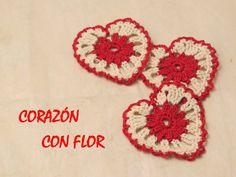 Cómo hacer un corazón a crochet con flor en el centro (Easy Heart)