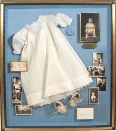 Baby dress in shadow box frame. Baby dress in shadow box frame. Shadow Box Memory, Shadow Box Art, Shadow Box Frames, Baptism Dress, Christening Gowns, Cuadros Diy, Memory Crafts, Vintage Crafts, Displaying Collections