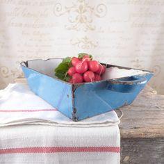 Blue mold cast iron, drawer, enamel, vintage, kitchen, kitchen, bowl, shabby chic,  enamel bowl, baking, blue drawer