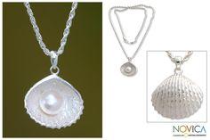 Novica Sterling Silver 'Oyster Secrets' Pearl Necklace