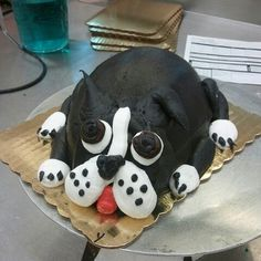 Boston terrier cake I made at work. Candy guilmette