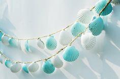 Seashell Garland Beach Wedding Decoration Blue and by Seagypsys, $25.00