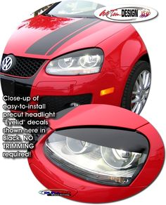 Headlight Eyelid decal kits for Volkswagen GTI that are precut, easy-to-apply and make vehicles look great. Grease Remover, Chrysler Pt Cruiser, Window Graphics, Exterior Trim, Rear Window, Car Decals, Volkswagen, How To Apply, Kit