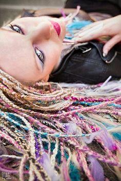 Fantasy pastel-colored micro braids. on The Fashion Time  http://thefashiontime.com/4-micro-braids-hairstyles-fun-easy/#sg18