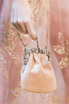 Mini velvet embellished nightbag at Elie Saab Couture Fall 2017.