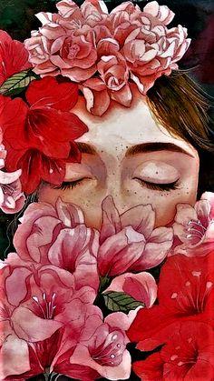 Wake me up. Illustration by unknown artist via Art And Illustration, Motif Art Deco, Frida Art, Aesthetic Art, Portrait Art, Art Inspo, Painting & Drawing, Amazing Art, Watercolor Paintings