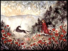 """"""" megarah-moon: """" Lovely Fantasy Artwork by Jessica Albert~ """" Love this art """" Unicorn And Fairies, Unicorn Art, Unique Drawings, Fairytale Art, Fantasy Artwork, Whimsical Art, Faeries, Traditional Art, Painting & Drawing"""