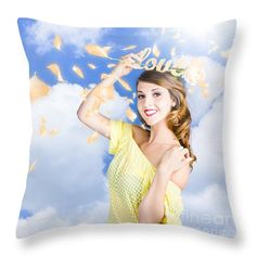 Home Love Throw Pillow featuring the photograph Romantic Woman Dreaming Of A Sky Filled Romance by Jorgo Photography - Wall Art Gallery