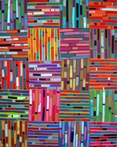 horizontal/vertical--cool class collaboration for 1st grade.  Have each student paint lines and let them dry...then add more details, then put them together as a class quilt...1st day of art?- have them paint a piece of paper and then cut into strips  to make it look like a quilt?